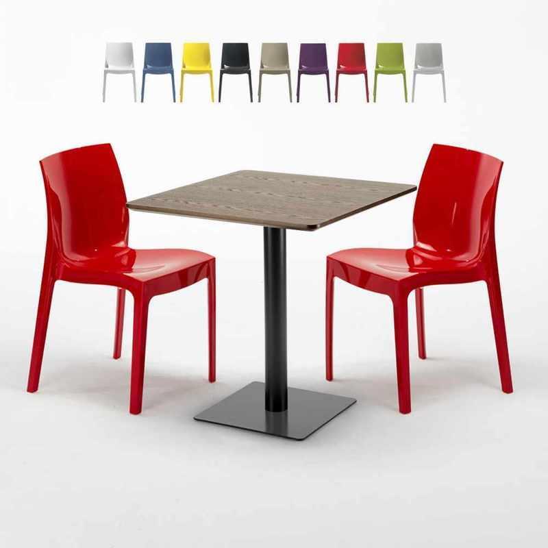 TABLE CARRÉE 60X60 PIED NOIR ET PLATEAU BOIS AVEC 2 CHAISES COLORÉES ICE KISS   ROUGE - GRAND SOLEIL