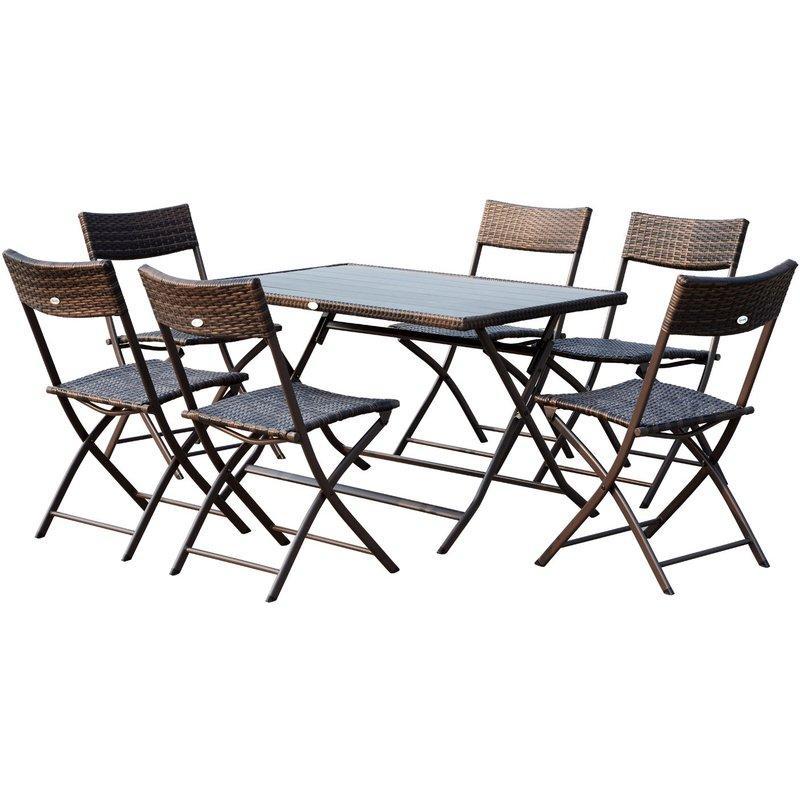 ENSEMBLE SALON DE JARDIN 6 PERSONNES GRANDE TABLE RECTANGULAIRE PLIABLE + 6 CHAISES PLIANTES MÉTAL RÉSINE TRESSÉE PC CHOCOLAT - OUTSUNNY