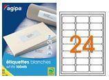 AGIPA 119641 ÉTIQUETTES MULTIUSAGES BLANCHES 63.5X33.9 MM COINS ARRONDIS - 25 PL. A4