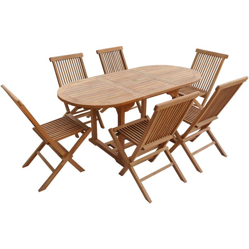 SALON DE JARDIN LOMBOK - TABLE EXTENSIBLE OVALE EN TECK - 6 PLACES - HAPPY GARDEN
