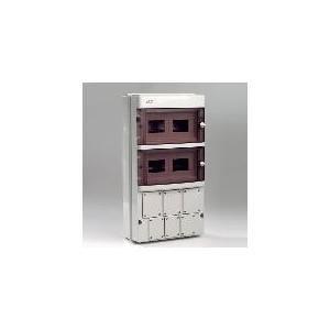 MODULES RAIL DIN 1X26(2X13) AVEC VOLET TRANSPARENT 550X290X295MN AVEC 4 CACHES 66X83MN ET 3 CACHES 80X96MN
