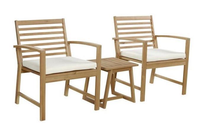 FINLANDEK - SALON DE JARDIN TABLE + 2 FAUTEUILS EN ACACIA ...