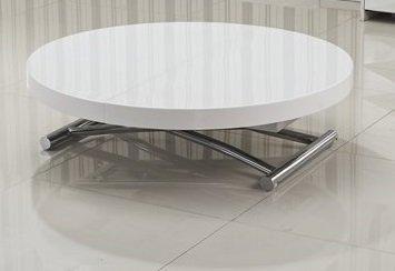 TABLE BASSE RONDE RELEVABLE ET EXTENSIBLE SATURNA BLANCHE DIAMÈTRE 90 CM