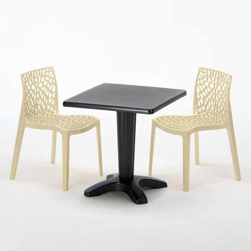 TABLE CARRÉE NOIRE 70X70CM AVEC 2 CHAISES COLORÉES GRAND SOLEIL SET BAR CAFÉ GRUVYER AIA | BEIGE