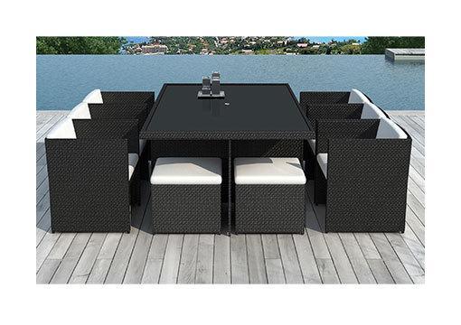 TABLE DE JARDIN + 6 FAUTEUILS + 4 POUFS EN RÉSINE TRÉSSÉE NOIRE - M&S