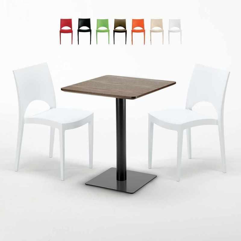 TABLE CARRÉE 60X60 PIED NOIR ET PLATEAU BOIS AVEC 2 CHAISES COLORÉES PARIS KISS   BLANC - GRAND SOLEIL