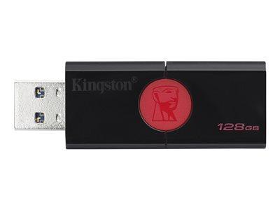 KINGSTON DATATRAVELER 106 - CLÉ USB - 128 GO - USB 3.1 GEN 1 - NOIR SUR ROUGE
