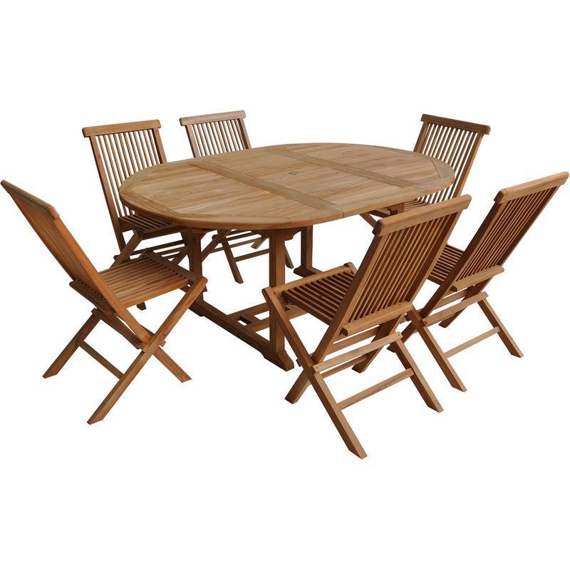 SALON DE JARDIN LOMBOK - TABLE EXTENSIBLE RONDE EN TECK - 6 PLACES - HAPPY GARDEN