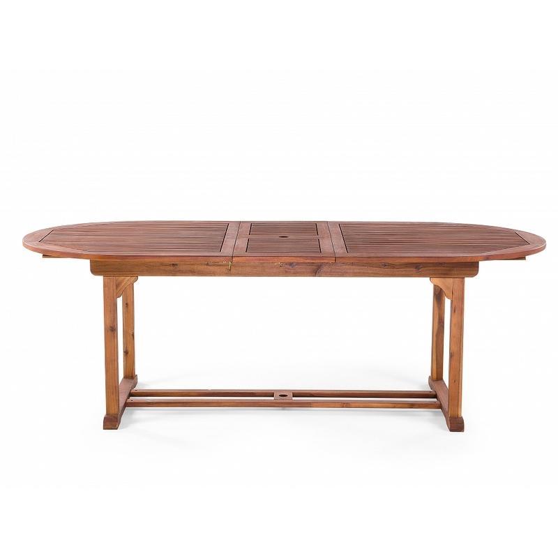 TABLE DE JARDIN OVALE EN BOIS AVEC RALLONGES TOSCANA - BELIANI ...