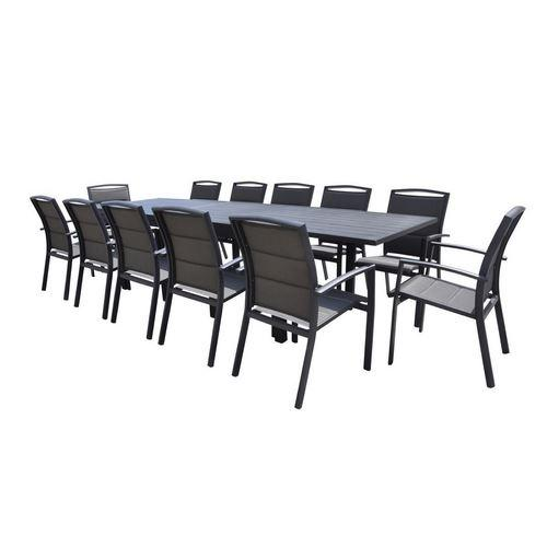 ENSEMBLE TABLE + CHAISES MODULO ALUMINIUM GRIS - T8/12+F12
