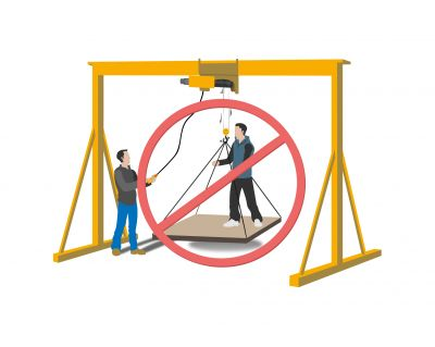 Interdiction de lever une personne avec un palan