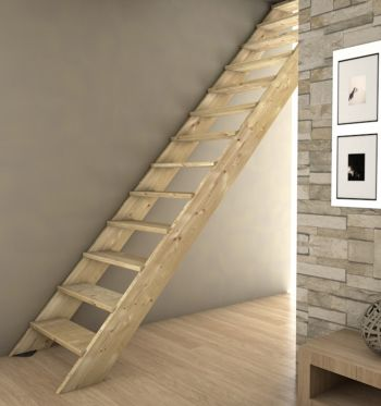 Escalier droit en bois sans rampe