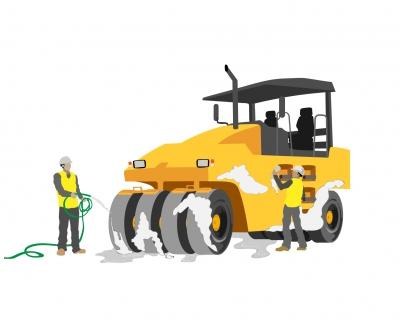 Nettoyage  rouleau compresseur