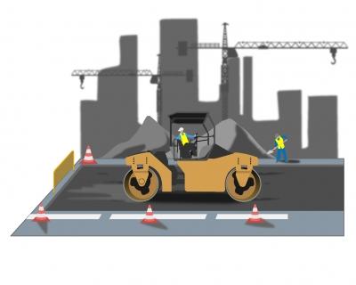Rouleau compresseur sur chantier