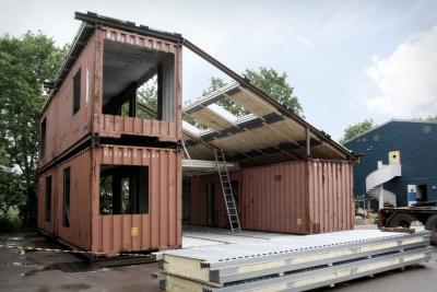 Maison container construction structure