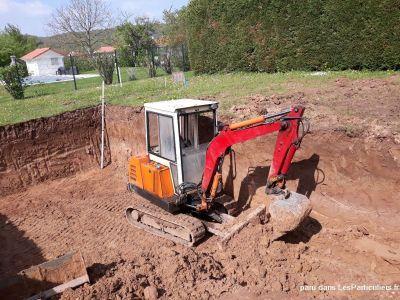 Mini pelle Piscine Chantier Construction