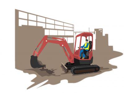Utilisation d'une mini pelle pour la construction