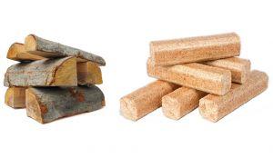 Bûches de bois pour chaudière