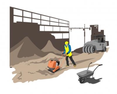 Utilisation plaque Vibrante sur un chantier