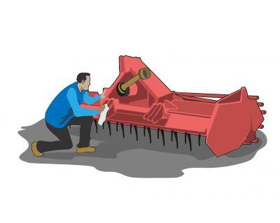 Nettoyage  d'une herse rotative