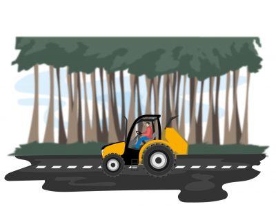 Conduite d'un porteur muni d'un broyeur forestier
