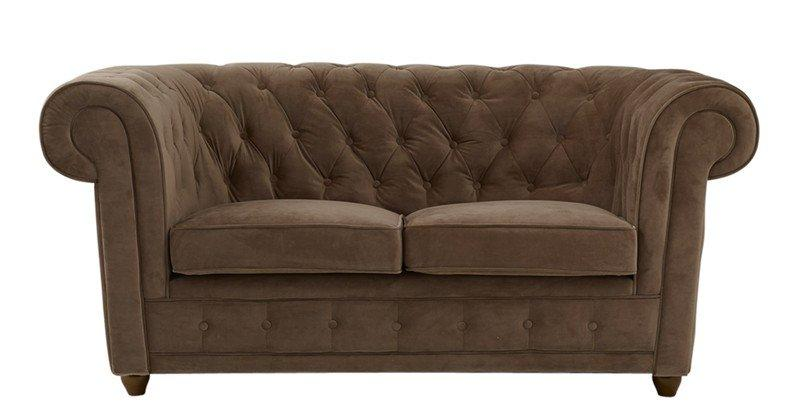 canape chesterfield 2 places velours taupe. Black Bedroom Furniture Sets. Home Design Ideas