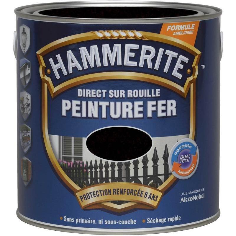 PEINTURE DIRECT SUR ROUILLE MARTELÉE NOIR 2,5 L - HAMMERITE