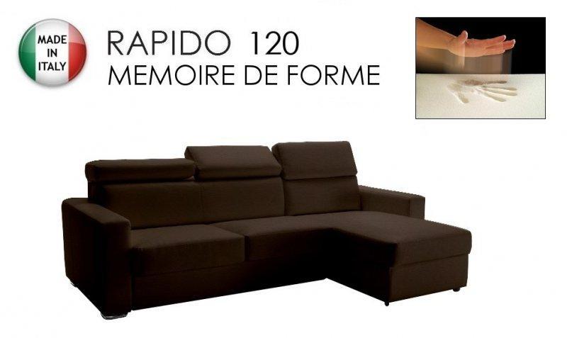 Canapé d'angle réversible rapido sidney memory matelas 120*14*190 cm mémoire de forme, cuir éco marron.