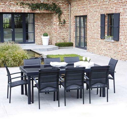 Ensemble table et chaises de jardin modulo 8 places noir - Table de jardin noire asnieres sur seine ...