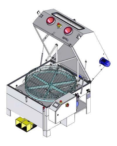 Laveur avec panier rotatif et gants - capacité : 1170x700 mm - meca esa2-120