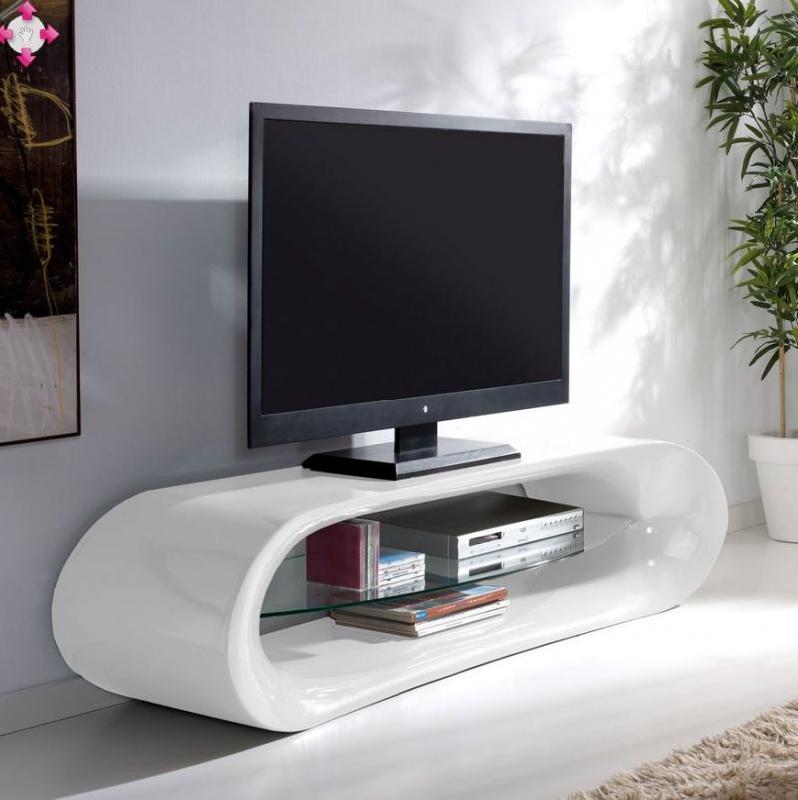 Meuble tv design kaina en fibre de verre blanc avec une etagere en verre trempe - Meuble tv avec etagere ...