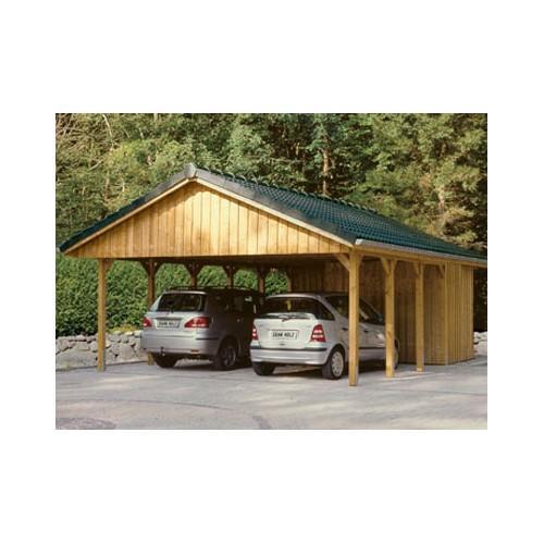 Abri voiture autoportant / structure en bois / toiture à deux pans en bois / pour 2 voitures