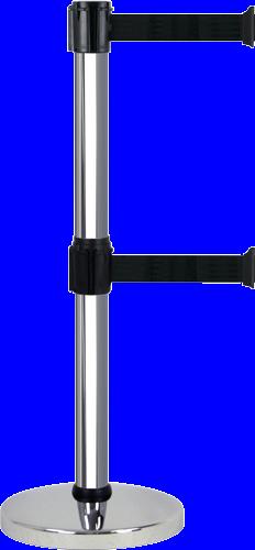 Poteau Alu Chromé à double sangle Noir 3m x 50mm sur socle chromé - 2900027