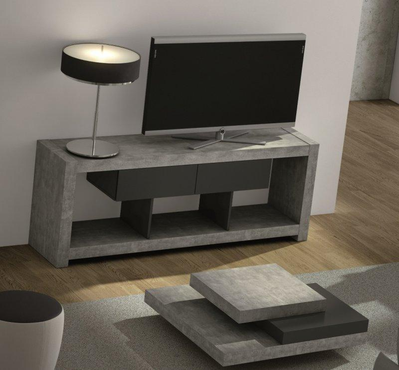 temahome nara meuble tv design beton avec 2 tiroirs. Black Bedroom Furniture Sets. Home Design Ideas