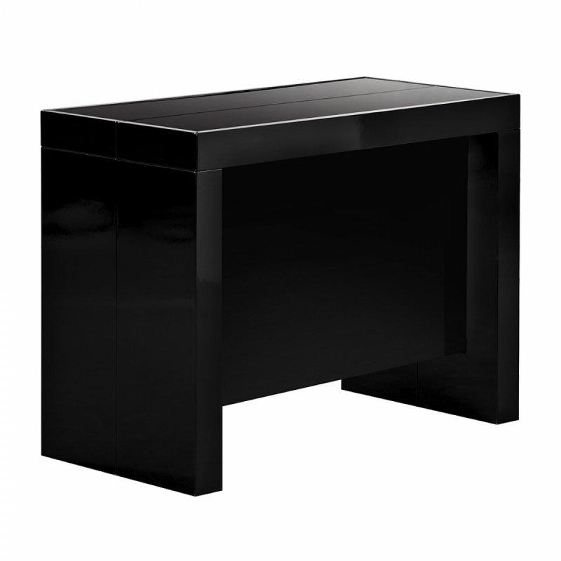 Console extensible space a rallonges integrees laquee noire - Table extensible laquee ...