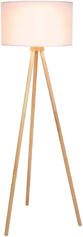 Lampadaire trépied led en bois 145 cm diamètre 45 cm max 60 watts abat jour blanc style moderne scandinave luminaire lampe sur pied pour salon 01_00000403