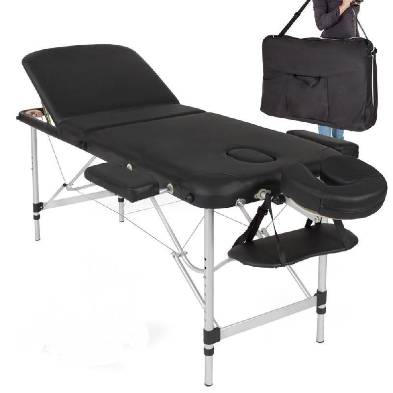 Table de massage pliable rembourrage épais pliante 3 zones aluminium portable + housse noir 2008002