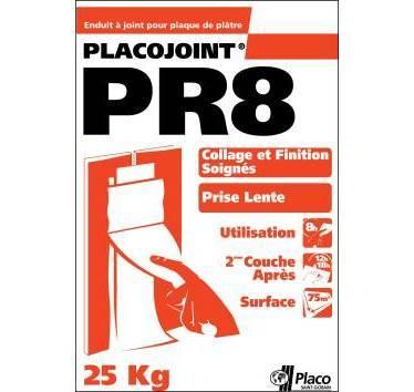 PLACO - ENDUIT À PRISE LENTE 8H EN POUDRE PLACOJOINT® PR8 25KG - A87250021