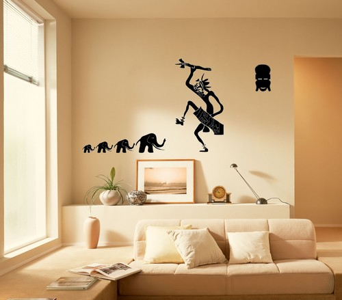 Sticker adhesif mural stylise danseur afrique for Decoration simple pour salon