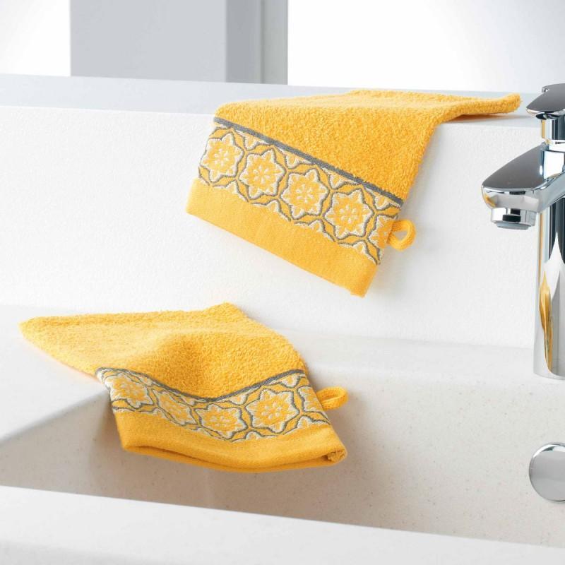 Lot de 2 gants de toilette adelie 15x21cm miel - paris prix