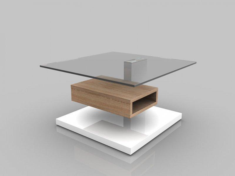 Table basse anne belle chene blanc de sonoma et plateau - Table basse chene sonoma ...