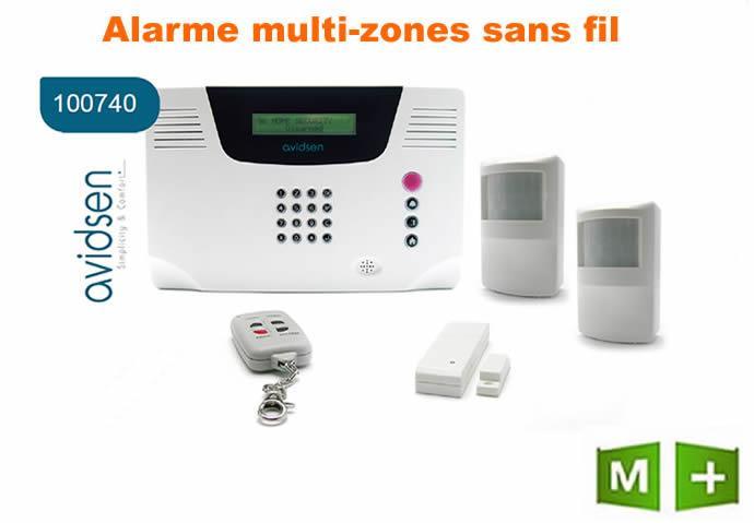 ALARME MAISON MULTIZONES SANS FIL AVIDSEN-100740