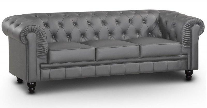 canape chesterfield royal 3 places gris. Black Bedroom Furniture Sets. Home Design Ideas