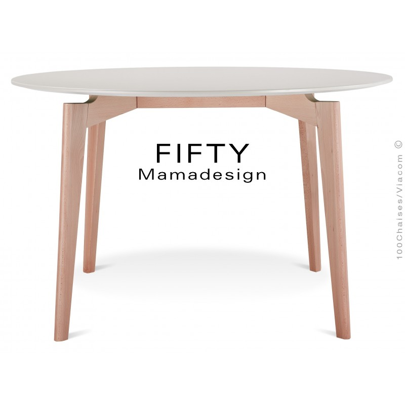 Table a manger ronde en bois de hetre fifty plateau mdf - Plateau pour table a manger ...