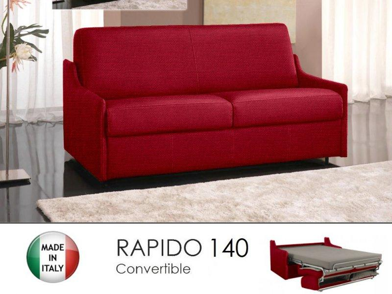 Canape lit 3 places luna convertible ouverture rapido 140cm tweed cross rouge - Canape convertible sans accoudoir ...