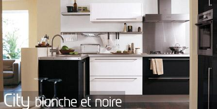 cuisine nouvelle tendance city blanche et noire. Black Bedroom Furniture Sets. Home Design Ideas