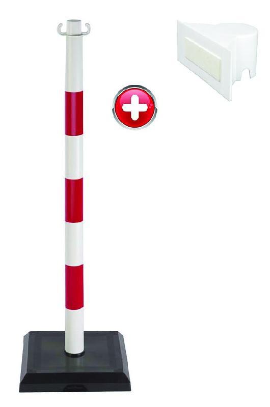 Poteau PVC grande hauteur Rouge/Blanc sur socle lester 3kg avec support panneau - 2000109