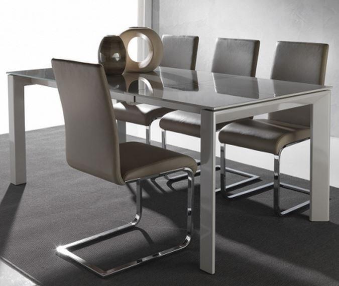 Good Table A Manger Taupe #3: TABLE REPAS EXTENSIBLE SLIVER 120 X 80 CM EN VERRE TAUPE CLAIR SATINÉ