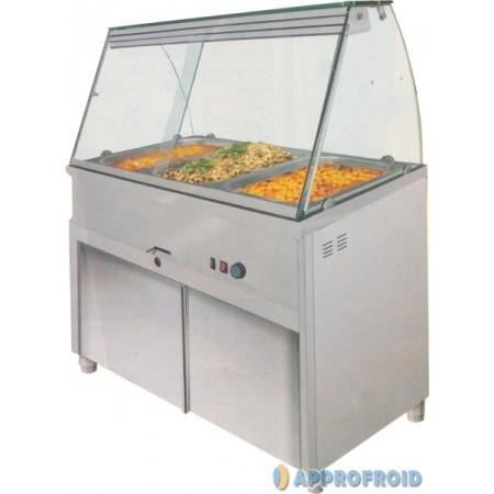 Bain marie - vitrine chauffante sur placard fermé 4 x gn 1/1 ou 5 x gn 1/1