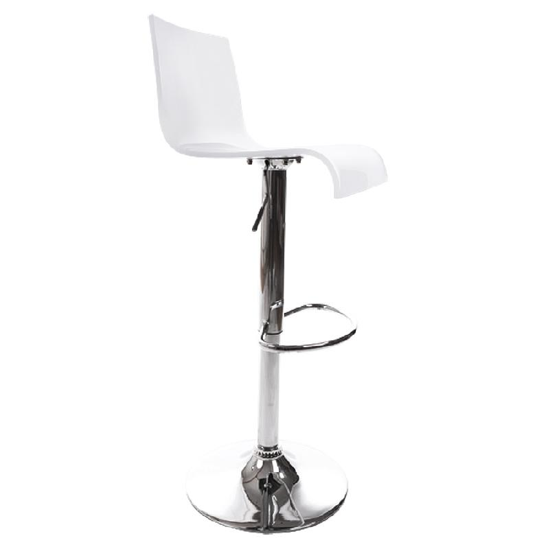tabouret de cuisine 39 nemo 39 r glable en plexiglas blanc. Black Bedroom Furniture Sets. Home Design Ideas